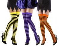 Neon Striped Hold Ups- Plus Size
